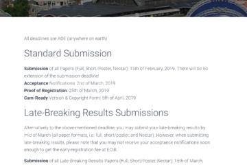 Important Dates Screenshot (AMIR Meta-Learning Information Retrieval 2019)