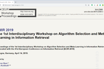 List of Accepted Papers and Programme for the AMIR Workshop – AMIR
